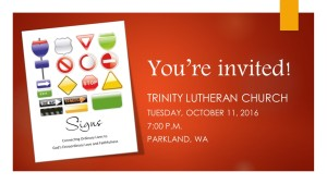 Deanna's Speaking at Trinity Lutheran Church!