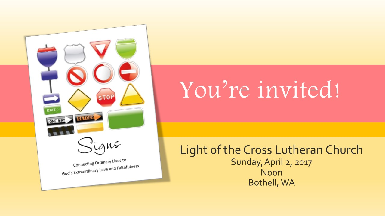 Deanna's Speaking at Light of the Cross Lutheran Church!